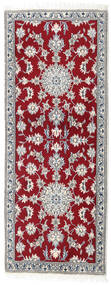 Nain Rug 80X201 Authentic Oriental Handknotted Hallway Runner Dark Red/Light Grey (Wool, Persia/Iran)