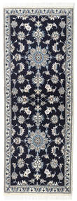 Nain Rug 75X200 Authentic  Oriental Handknotted Hallway Runner  Black/Light Grey (Wool, Persia/Iran)