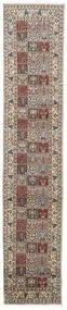 Moud Rug 78X387 Authentic Oriental Handknotted Hallway Runner Light Grey/Beige (Wool/Silk, Persia/Iran)