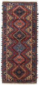 Yalameh Rug 85X198 Authentic Oriental Handknotted Hallway Runner Dark Red/Black (Wool, Persia/Iran)