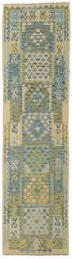 Kelim Afghan Old Style Matto 78X290 Itämainen Käsinkudottu Käytävämatto Vaaleanvihreä/Tummanharmaa (Villa, Afganistan)