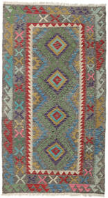 Kelim Afghan Old Style Matto 106X190 Itämainen Käsinkudottu Oliivinvihreä/Tummanharmaa (Villa, Afganistan)