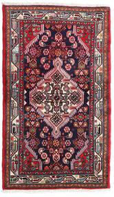 Hamadan Tappeto 80X135 Orientale Fatto A Mano Porpora Scuro/Rosso (Lana, Persia/Iran)