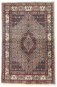 Moud Matta 96X148 Äkta Orientalisk Handknuten Mörkröd/Mörkbrun (Ull/Silke, Persien/Iran)