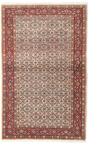 Moud Matta 95X153 Äkta Orientalisk Handknuten Mörkbrun/Mörkröd (Ull/Silke, Persien/Iran)