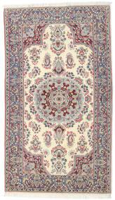 Kerman Dywan 90X157 Orientalny Tkany Ręcznie Beżowy/Jasnoszary (Wełna, Persja/Iran)