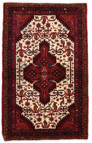 Hamadan Teppe 83X133 Ekte Orientalsk Håndknyttet Mørk Rød/Beige (Ull, Persia/Iran)