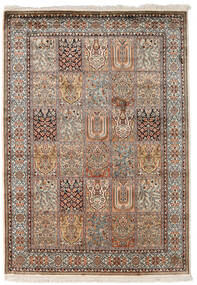 Kashmir Ren Silke Teppe 128X182 Ekte Orientalsk Håndknyttet Mørk Grå/Lys Grå (Silke, India)