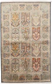 Cachemire Pure Soie Tapis 122X195 D'orient Fait Main Gris Clair/Beige Foncé (Soie, Inde)