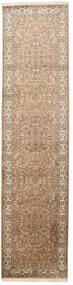 Kaszmir Czysty Jedwab Dywan 79X321 Orientalny Tkany Ręcznie Chodnik Brązowy/Beżowy (Jedwab, Indie)