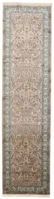 Kaszmir Czysty Jedwab Dywan 79X311 Orientalny Tkany Ręcznie Chodnik Jasnoszary/Ciemnoszary (Jedwab, Indie)