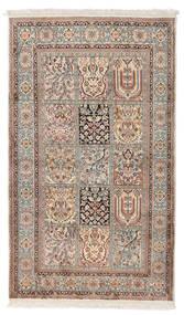 Kashmir 100% Silkki Matto 92X156 Itämainen Käsinsolmittu Vaaleanharmaa/Valkoinen/Creme (Silkki, Intia)