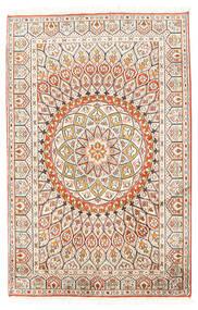 Kashmir Pure Silk Rug 80X124 Authentic  Oriental Handknotted Beige/Light Grey (Silk, India)