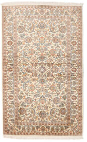 Kashmir Pure Silk Rug 95X154 Authentic Oriental Handknotted Beige/Dark Brown (Silk, India)