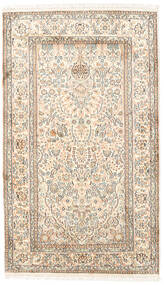 Kashmir 100% Silkki Matto 93X156 Itämainen Käsinsolmittu Beige/Vaaleanharmaa (Silkki, Intia)