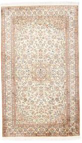 Kaschmir Reine Seide Teppich 92X153 Echter Orientalischer Handgeknüpfter Weiß/Creme/Hellgrau (Seide, Indien)