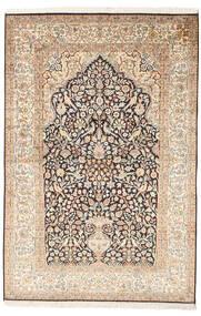 Kashmir 100% Silkki Matto 125X187 Itämainen Käsinsolmittu Beige/Vaaleanruskea (Silkki, Intia)