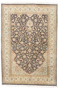 Kashmir Pura Seda Tapete 124X182 Oriental Feito A Mão Bege/Bege Escuro (Seda, Índia)
