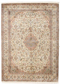 Kashmir Pure Silk Rug 160X217 Authentic  Oriental Handknotted Beige/Light Brown (Silk, India)