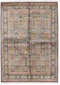 Kashmir Tiszta Selyem Szőnyeg 155X214 Keleti Csomózású Világosszürke/Barna (Selyem, India)
