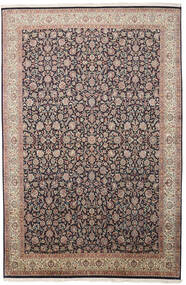 Kashmir Pure Silk Rug 211X319 Authentic  Oriental Handknotted Light Grey/Black (Silk, India)