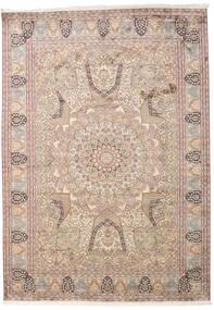 Kashmir 100% Silkki Matto 220X312 Itämainen Käsinsolmittu Vaaleanruskea/Vaaleanharmaa/Beige (Silkki, Intia)