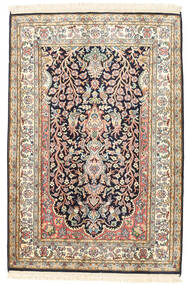 Kashmir Pure Silk Rug 81X120 Authentic Oriental Handknotted Beige/Dark Grey (Silk, India)