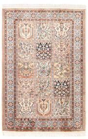Kashmir Pure Silk Rug 81X118 Authentic  Oriental Handknotted Light Grey/Beige (Silk, India)