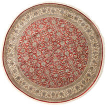 Kashmir Pure Silk Rug Ø 245 Authentic Oriental Handknotted Round Light Brown/Light Grey (Silk, India)