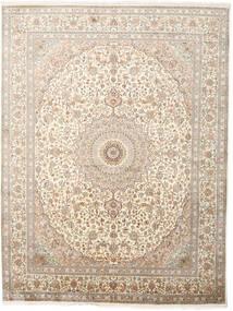 Kashmir 100% Silkki Matto 243X319 Itämainen Käsinsolmittu Vaaleanharmaa/Beige (Silkki, Intia)