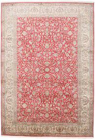 Kashmir 100% Silkki Matto 216X311 Itämainen Käsinsolmittu Vaaleanpunainen/Vaaleanharmaa (Silkki, Intia)