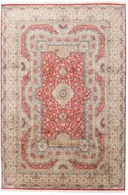 Kashmir 100% Silkki Matto 217X323 Itämainen Käsinsolmittu Vaaleanharmaa/Vaaleanpunainen (Silkki, Intia)