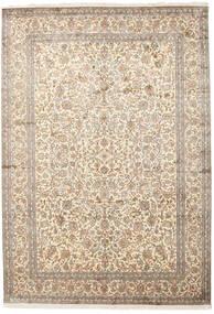 Kashmir 100% Silkki Matto 220X315 Itämainen Käsinsolmittu Vaaleanharmaa/Beige (Silkki, Intia)