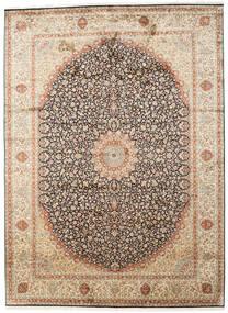 カシミール ピュア シルク 絨毯 247X339 オリエンタル 手織り ベージュ/濃い茶色 (絹, インド)