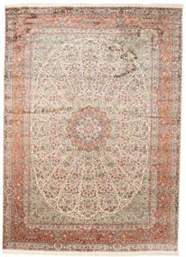 カシミール ピュア シルク 絨毯 251X351 オリエンタル 手織り 薄い灰色/茶 大きな (絹, インド)