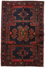 Hamadan Rug 137X208 Authentic  Oriental Handknotted Black/Dark Red (Wool, Persia/Iran)