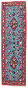 Ghom Kork/Zijde Vloerkleed 65X217 Echt Oosters Handgeknoopt Tapijtloper Wit/Creme/Turquoise Blauw (Wol/Zijde, Perzië/Iran)