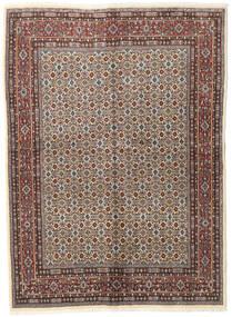 Moud Vloerkleed 143X197 Echt Oosters Handgeknoopt Lichtgrijs/Donkerbruin (Wol/Zijde, Perzië/Iran)