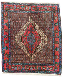 Senneh Rug 136X157 Authentic  Oriental Handknotted Dark Brown/Dark Red (Wool, Persia/Iran)