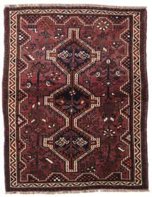 Shiraz Rug 127X162 Authentic  Oriental Handknotted Dark Red/Black (Wool, Persia/Iran)