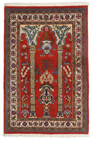 Qum Kork/Silk Rug 82X123 Authentic  Oriental Handknotted Dark Brown/Dark Red (Wool/Silk, Persia/Iran)