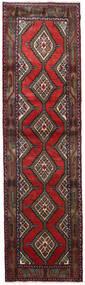 Hamadan Rug 84X305 Authentic  Oriental Handknotted Hallway Runner  Dark Red/Black (Wool, Persia/Iran)
