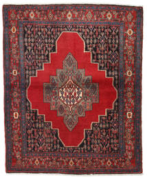Senneh Rug 130X155 Authentic  Oriental Handknotted Dark Red/Dark Grey (Wool, Persia/Iran)