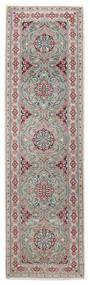 ナイン 9La 絨毯 82X292 オリエンタル 手織り 廊下 カーペット 薄い灰色/濃いグレー (ウール/絹, ペルシャ/イラン)