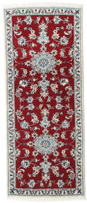 Nain Rug 80X200 Authentic  Oriental Handknotted Hallway Runner  Dark Red/Crimson Red (Wool, Persia/Iran)