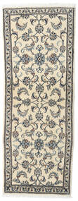 Nain Rug 75X203 Authentic  Oriental Handknotted Hallway Runner  Beige/Light Grey (Wool, Persia/Iran)