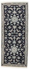 Nain Rug 80X197 Authentic  Oriental Handknotted Hallway Runner  Dark Blue/Dark Grey (Wool, Persia/Iran)