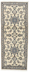 Nain Rug 76X194 Authentic  Oriental Handknotted Hallway Runner  Light Grey/Beige/Dark Grey (Wool, Persia/Iran)