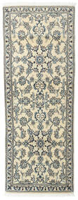 Nain Rug 75X200 Authentic  Oriental Handknotted Hallway Runner  Light Grey/Beige (Wool, Persia/Iran)