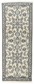 Nain Rug 80X197 Authentic  Oriental Handknotted Hallway Runner  Beige/Light Grey (Wool, Persia/Iran)